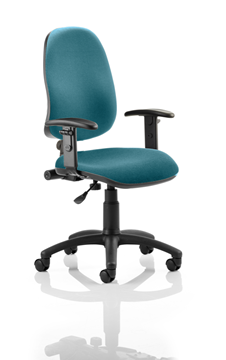 Picture of Office Chair Company Eclipse I Lever Task Operator Chair Bespoke With Height Adjustable Arms In Kingfisher