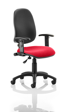 Picture of Office Chair Company Eclipse I Lever Task Operator Chair Black Back Bespoke Seat With Height Adjustable Arms In Cherry