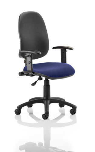 Picture of Office Chair Company Eclipse I Lever Task Operator Chair Black Back Bespoke Seat With Height Adjustable Arms In Serene
