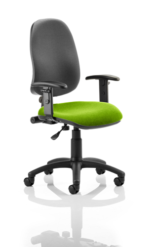 Picture of Office Chair Company Eclipse I Lever Task Operator Chair Black Back Bespoke Seat With Height Adjustable Arms In Swizzle
