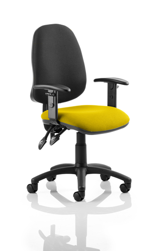 Picture of Office Chair Company Eclipse I Lever Task Operator Chair Black Back Bespoke Seat With Height Adjustable Arms In Sunset
