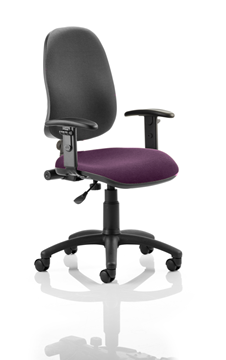 Picture of Office Chair Company Eclipse I Lever Task Operator Chair Black Back Bespoke Seat With Height Adjustable Arms In Purple
