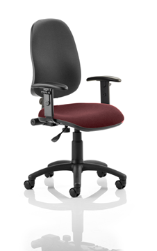 Picture of Office Chair Company Eclipse I Lever Task Operator Chair Black Back Bespoke Seat With Height Adjustable Arms In Chilli