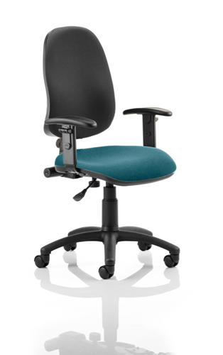 Picture of Office Chair Company Eclipse I Lever Task Operator Chair Black Back Bespoke Seat With Height Adjustable Arms In Kingfisher