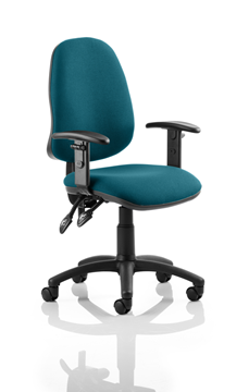 Picture of Office Chair Company Eclipse II Lever Task Operator Chair Bespoke With Height Adjustable Arms In Kingfisher
