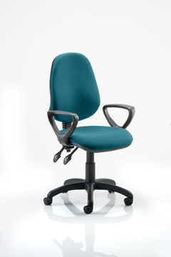 Picture of Office Chair Company Eclipse II Lever Task Operator Chair Bespoke  With Loop Arms In Kingfisher