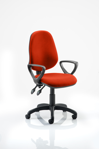 Picture of Office Chair Company Eclipse II Lever Task Operator Chair Bespoke  With Loop Arms In Pimento