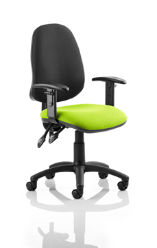 Picture of Office Chair Company Eclipse II Lever Task Operator Chair Black Back Bespoke Seat With Height Adjustable Arms In Swizzle