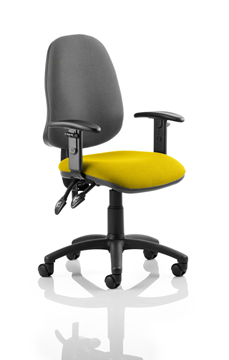Picture of Office Chair Company Eclipse II Lever Task Operator Chair Black Back Bespoke Seat With Height Adjustable Arms In Sunset