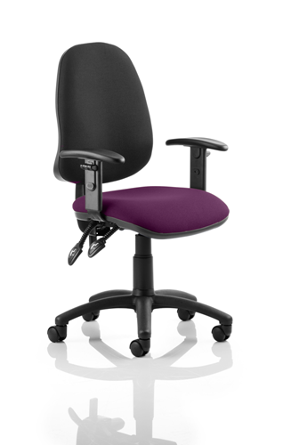 Picture of Office Chair Company Eclipse II Lever Task Operator Chair Black Back Bespoke Seat With Height Adjustable Arms In Purple