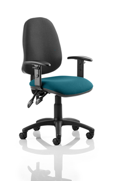 Picture of Office Chair Company Eclipse II Lever Task Operator Chair Black Back Bespoke Seat With Height Adjustable Arms In Kingfisher