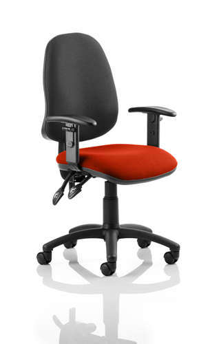 Picture of Office Chair Company Eclipse II Lever Task Operator Chair Black Back Bespoke Seat With Height Adjustable Arms In Pimento