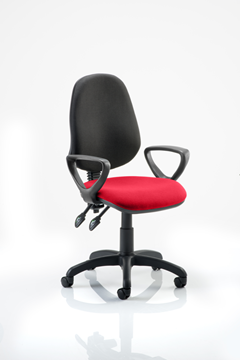 Picture of Office Chair Company Eclipse II Lever Task Operator Chair Black Back Bespoke Seat  With Loop Arms In Cherry