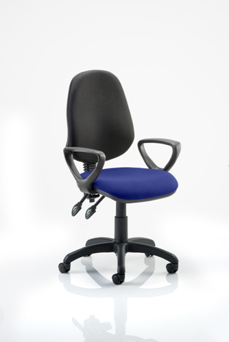 Picture of Office Chair Company Eclipse II Lever Task Operator Chair Black Back Bespoke Seat  With Loop Arms In Serene