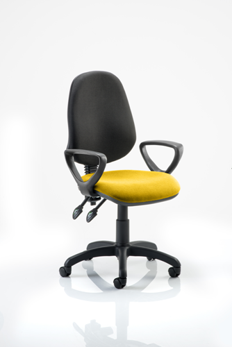 Picture of Office Chair Company Eclipse II Lever Task Operator Chair Black Back Bespoke Seat  With Loop Arms In Sunset