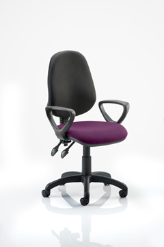 Picture of Office Chair Company Eclipse II Lever Task Operator Chair Black Back Bespoke Seat  With Loop Arms In Purple
