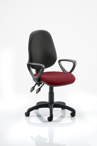 Picture of Office Chair Company Eclipse II Lever Task Operator Chair Black Back Bespoke Seat  With Loop Arms In Chilli