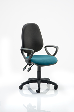 Picture of Office Chair Company Eclipse II Lever Task Operator Chair Black Back Bespoke Seat  With Loop Arms In Kingfisher