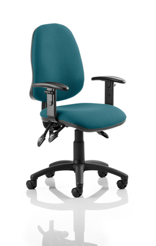Picture of Office Chair Company Eclipse III  Lever Task Operator Chair Bespoke With Height Adjustable Arms In Kingfisher