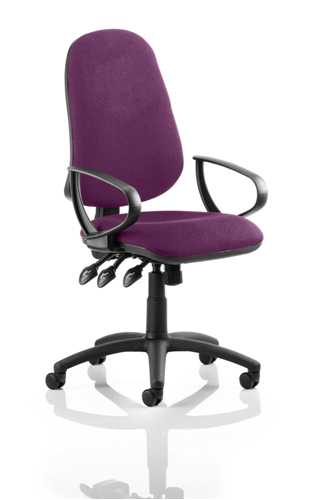 Picture of Office Chair Company Eclipse III  Lever Task Operator Chair Bespoke With Loop Arms In Purple
