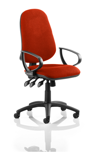 Picture of Office Chair Company Eclipse III  Lever Task Operator Chair Bespoke With Loop Arms In Pimento