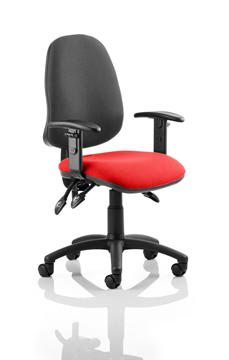Picture of Office Chair Company Eclipse III  Lever Task Operator Chair Black Back Bespoke Seat With Height Adjustable Arms In Cherry