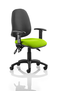 Picture of Office Chair Company Eclipse III  Lever Task Operator Chair Black Back Bespoke Seat With Height Adjustable Arms In Swizzle