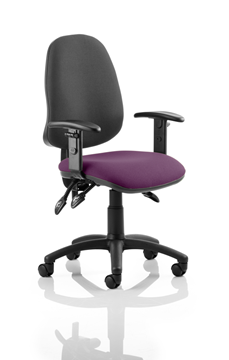 Picture of Office Chair Company Eclipse III  Lever Task Operator Chair Black Back Bespoke Seat With Height Adjustable Arms In Purple