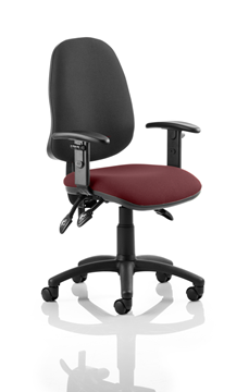 Picture of Office Chair Company Eclipse III  Lever Task Operator Chair Black Back Bespoke Seat With Height Adjustable Arms In Chilli