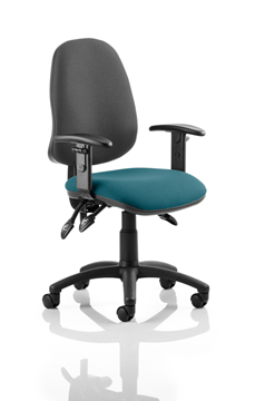 Picture of Office Chair Company Eclipse III  Lever Task Operator Chair Black Back Bespoke Seat With Height Adjustable Arms In Kingfisher