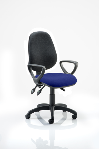 Picture of Office Chair Company Eclipse III  Lever Task Operator Chair Black Back Bespoke Seat With Loop Arms In Serene
