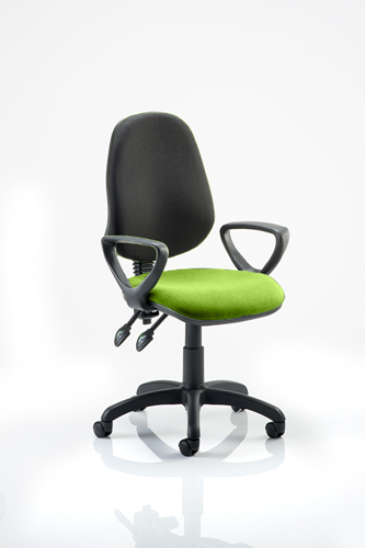 Picture of Office Chair Company Eclipse III  Lever Task Operator Chair Black Back Bespoke Seat With Loop Arms In Swizzle