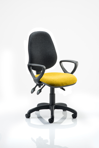 Picture of Office Chair Company Eclipse III  Lever Task Operator Chair Black Back Bespoke Seat With Loop Arms In Sunset