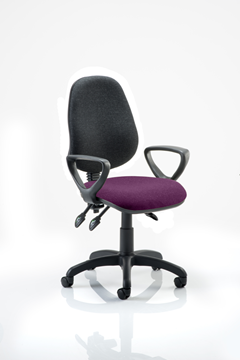 Picture of Office Chair Company Eclipse III  Lever Task Operator Chair Black Back Bespoke Seat With Loop Arms In Purple