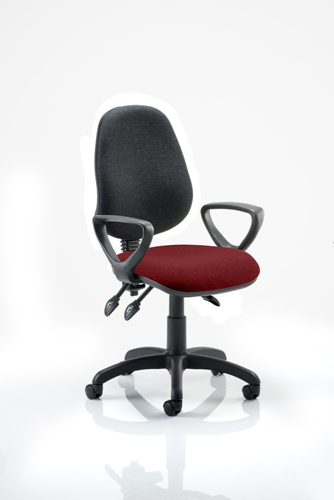 Picture of Office Chair Company Eclipse III  Lever Task Operator Chair Black Back Bespoke Seat With Loop Arms In Chilli