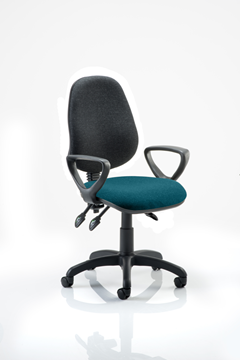 Picture of Office Chair Company Eclipse III  Lever Task Operator Chair Black Back Bespoke Seat With Loop Arms In Kingfisher