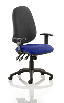 Picture of Office Chair Company Eclipse XL III Lever Task Operator Chair Black Back Bespoke Seat With Height Adjustable Arms In Serene
