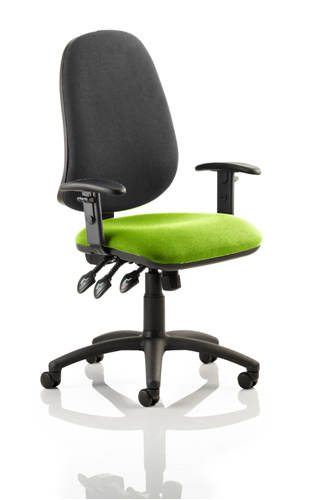 Picture of Office Chair Company Eclipse XL III Lever Task Operator Chair Black Back Bespoke With Height Adjustable Arms In Swizzle