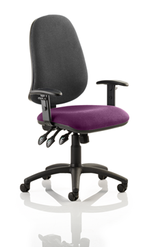 Picture of Office Chair Company Eclipse XL III Lever Task Operator Chair Black Back Bespoke Seat With Height Adjustable Arms In Purple