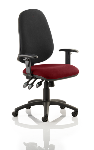 Picture of Office Chair Company Eclipse XL III Lever Task Operator Chair Black Back Bespoke Seat With Height Adjustable Arms In Chilli