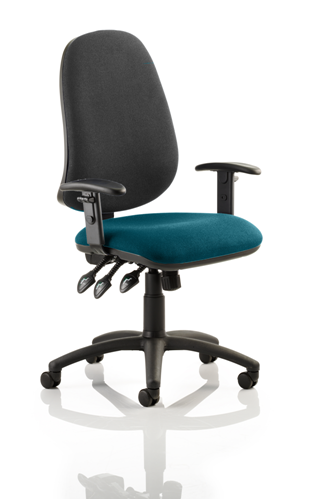 Picture of Office Chair Company Eclipse XL III Lever Task Operator Chair Black Back Bespoke Seat With Height Adjustable Arms In Kingfisher