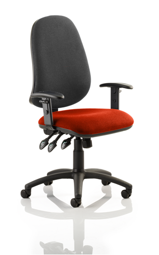 Picture of Office Chair Company Eclipse XL III Lever Task Operator Chair Black Back Bespoke Seat With Height Adjustable Arms In Pimento