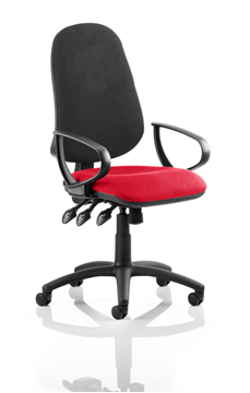 Picture of Office Chair Company Eclipse XL III Lever Task Operator Chair Black Back Bespoke Seat With Loop Arms In Cherry