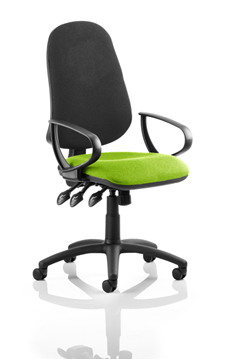 Picture of Office Chair Company Eclipse XL III Lever Task Operator Chair Black Back Bespoke Seat With Loop Arms In Swizzle
