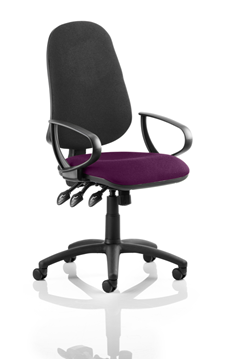 Picture of Office Chair Company Eclipse XL III Lever Task Operator Chair Black Back Bespoke Seat With Loop Arms In Purple