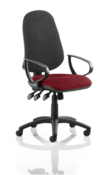 Picture of Office Chair Company Eclipse XL III Lever Task Operator Chair Black Back Bespoke Seat With Loop Arms In Chilli
