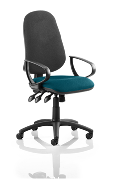 Picture of Office Chair Company Eclipse XL III Lever Task Operator Chair Black Back Bespoke Seat With Loop Arms In Kingfisher