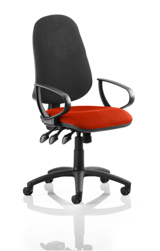 Picture of Office Chair Company Eclipse XL III Lever Task Operator Chair Black Back Bespoke Seat With Loop Arms In Pimento