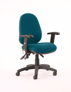 Picture of Office Chair Company Luna II Lever Task Operator Chair Bespoke With Height Adjustable And Folding Arms In Kingfisher