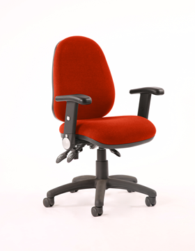 Picture of Office Chair Company Luna II Lever Task Operator Chair Bespoke With Height Adjustable And Folding Arms In Pimento